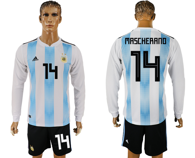 Men 2018 World Cup National Argentina home long sleeve 14 white soccer jersey