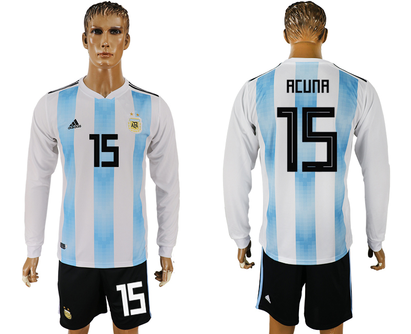 Men 2018 World Cup National Argentina home long sleeve 15 white soccer jersey