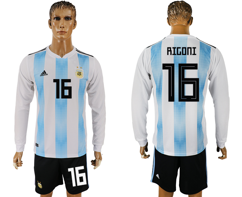 Men 2018 World Cup National Argentina home long sleeve 16 white soccer jersey
