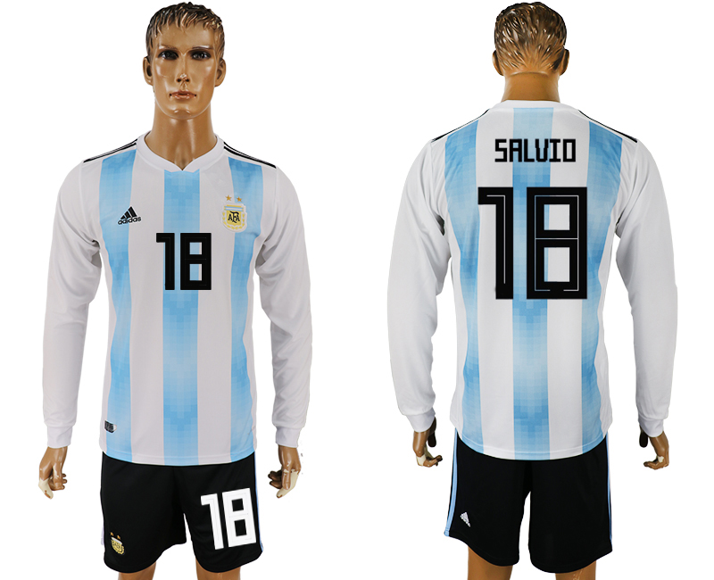 Men 2018 World Cup National Argentina home long sleeve 18 white soccer jersey
