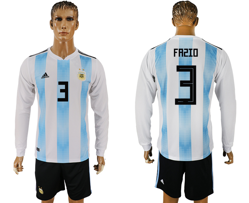 Men 2018 World Cup National Argentina home long sleeve 3 white soccer jersey