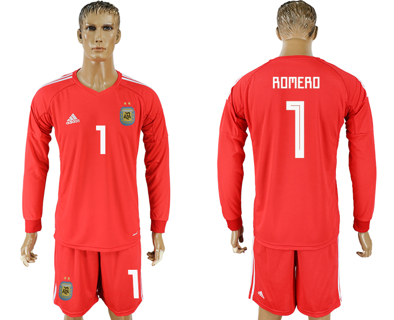 Men 2018 World Cup National Argentina red goalkeeper long sleeve 1 soccer jersey