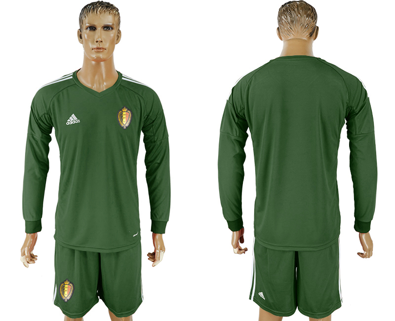 Men 2018 World Cup National Belgium Army green goalkeeper long sleeve soccer jersey