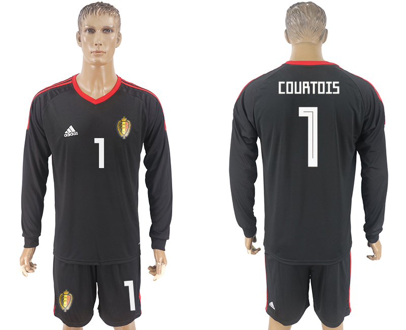 Men 2018 World Cup National Belgium goalkeeper black long sleeve 1 soccer jersey