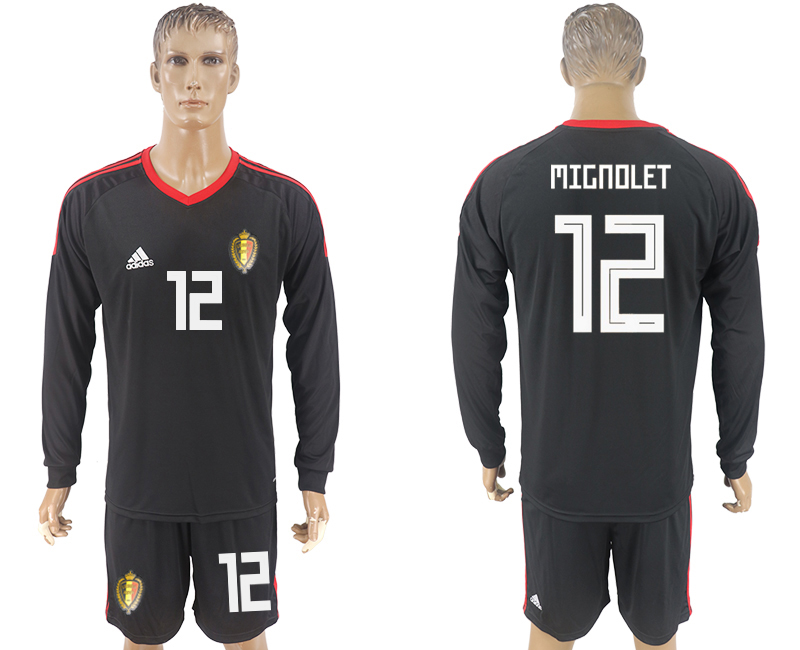 Men 2018 World Cup National Belgium goalkeeper black long sleeve 12 soccer jersey