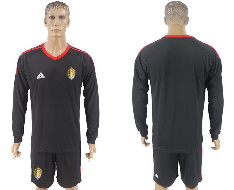 Men 2018 World Cup National Belgium goalkeeper black long sleeve soccer jersey