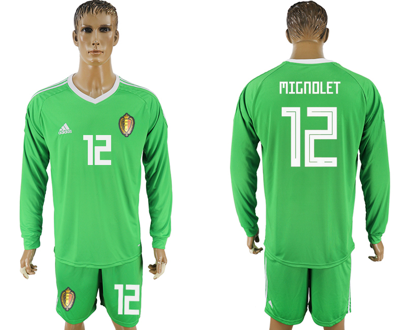 Men 2018 World Cup National Belgium green goalkeeper long sleeve 12 soccer jersey