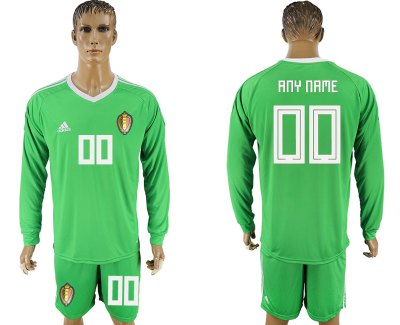 Men 2018 World Cup National Belgium green goalkeeper long sleeve customized soccer jersey