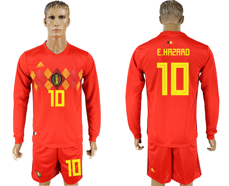 Men 2018 World Cup National Belgium home Long sleeve 10 red soccer jersey