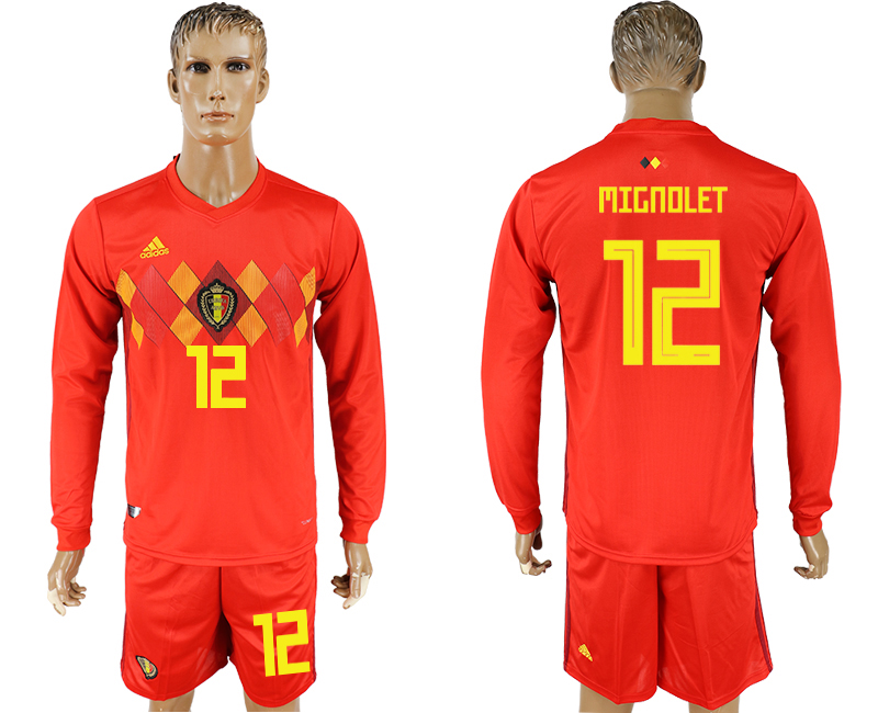 Men 2018 World Cup National Belgium home Long sleeve 12 red soccer jersey