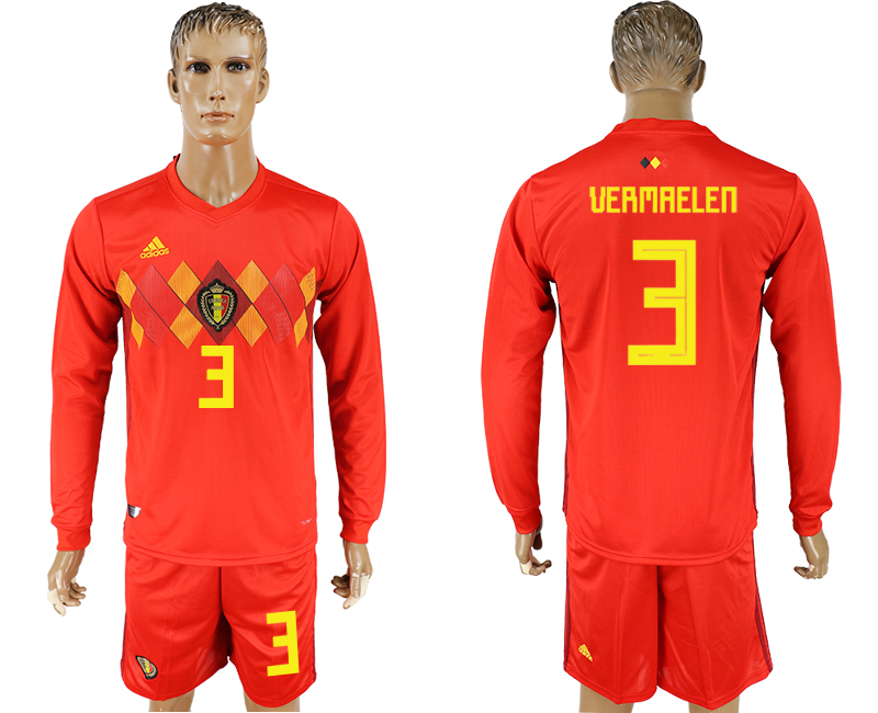 Men 2018 World Cup National Belgium home Long sleeve 3 red soccer jersey