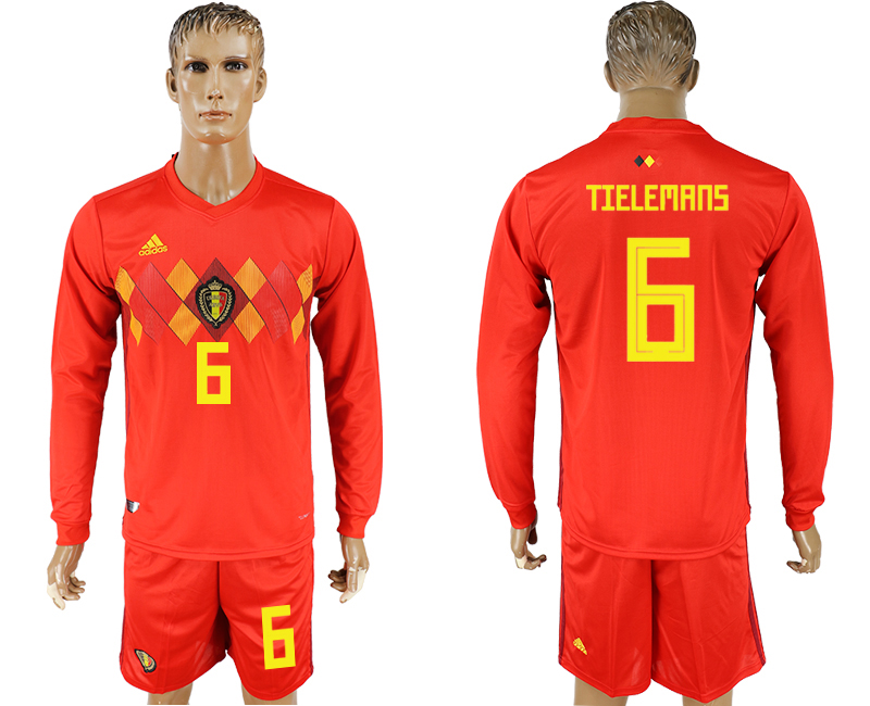 Men 2018 World Cup National Belgium home Long sleeve 6 red soccer jersey
