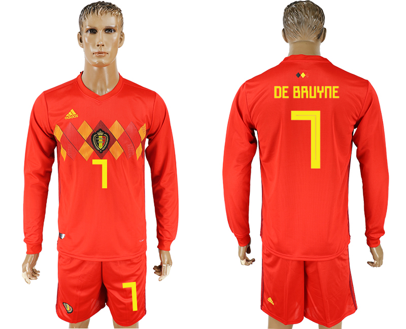Men 2018 World Cup National Belgium home Long sleeve 7 red soccer jersey