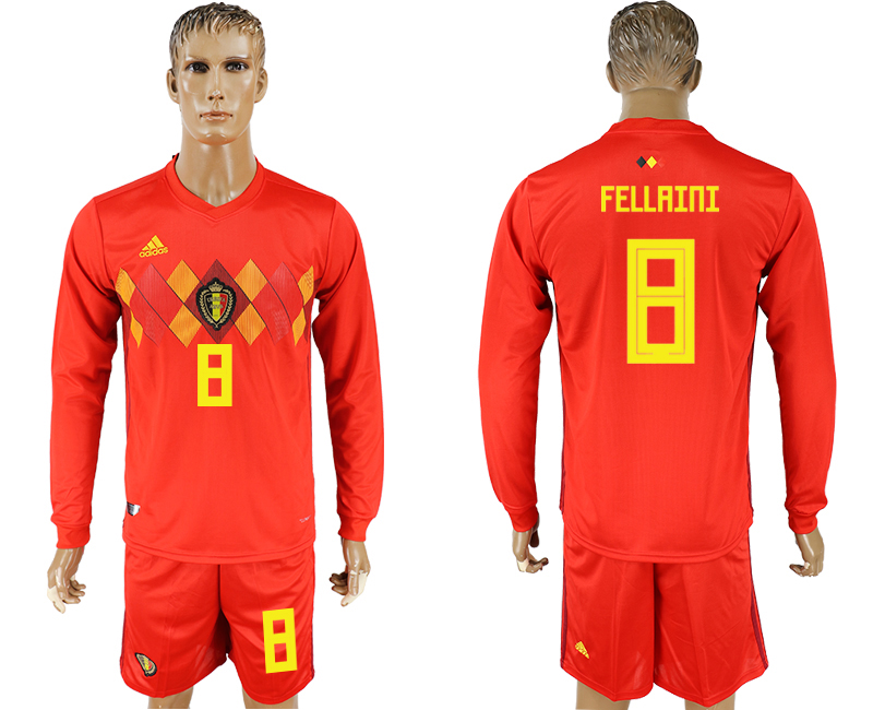 Men 2018 World Cup National Belgium home Long sleeve 8 red soccer jersey