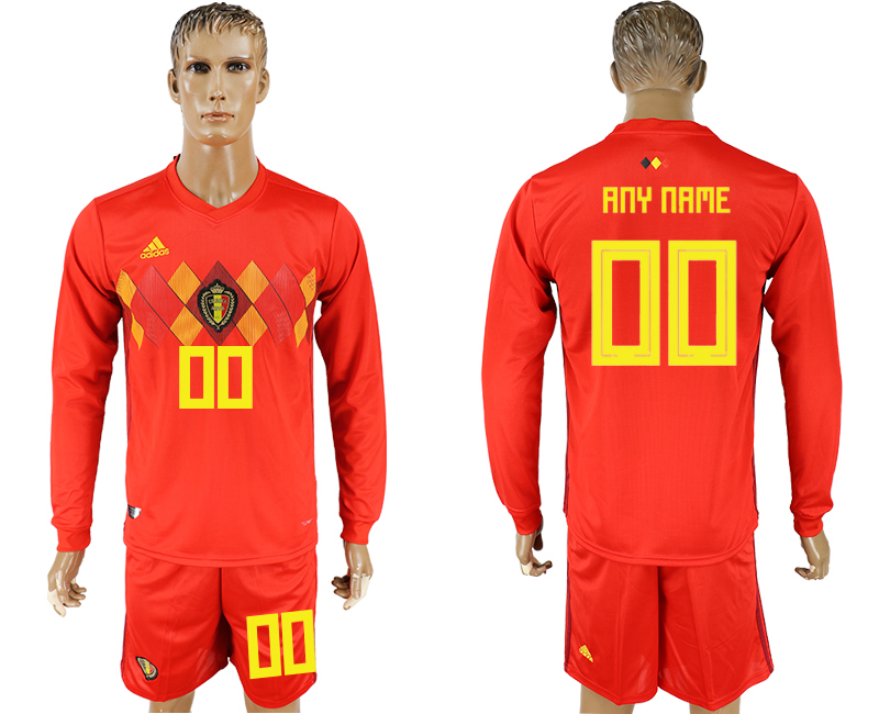 Men 2018 World Cup National Belgium home Long sleeve red customized soccer jersey