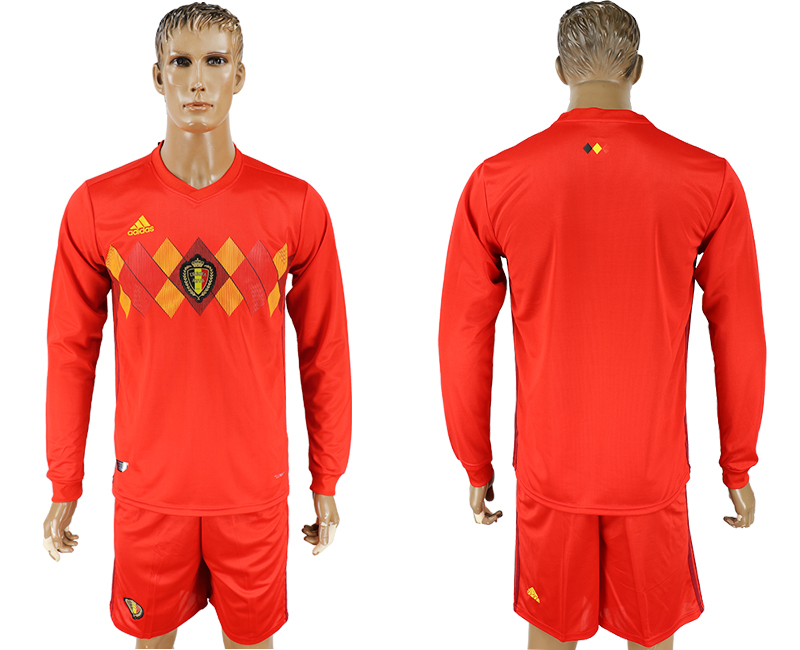 Men 2018 World Cup National Belgium home Long sleeve red soccer jersey