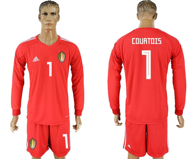 Men 2018 World Cup National Belgium red goalkeeper long sleeve 1 soccer jersey