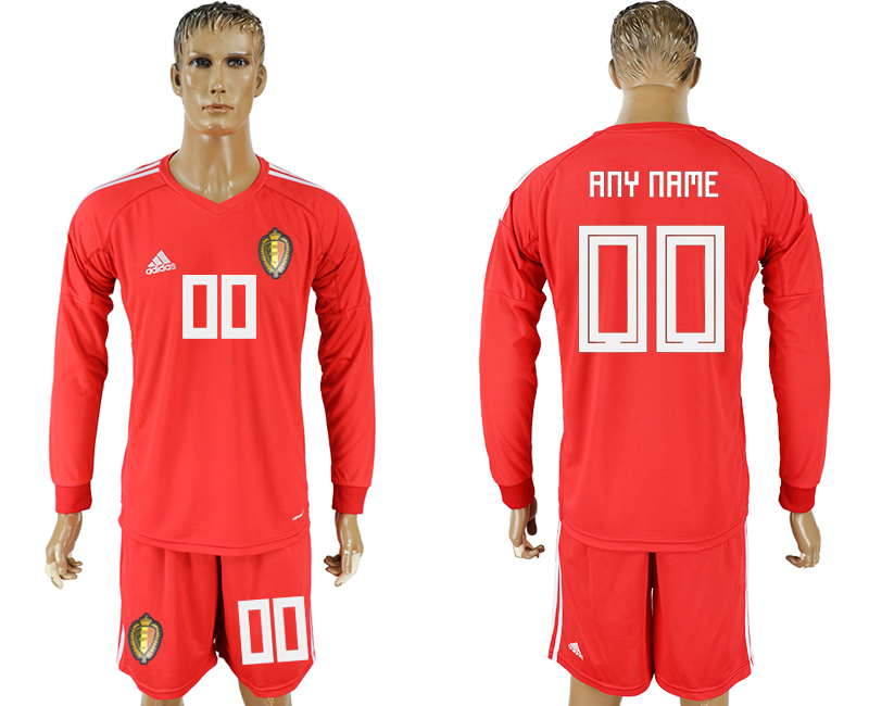 Men 2018 World Cup National Belgium red goalkeeper long sleeve customized soccer jersey