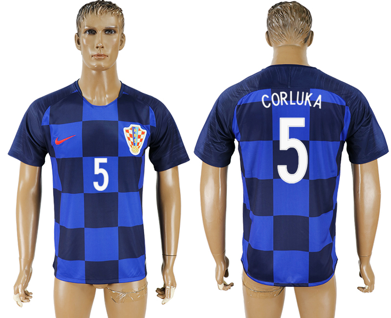 Men 2018 World Cup National Croatia away aaa version 5 blue soccer jersey