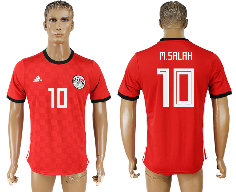 Men 2018 World Cup National Egypt home aaa version 10 red soccer jersey