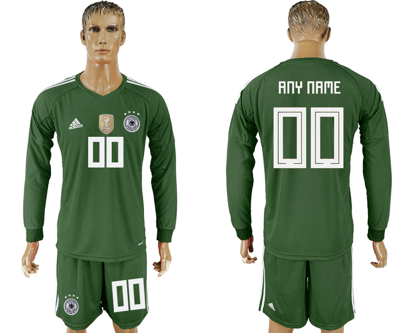 Men 2018 World Cup National Germany Army green goalkeeper long sleeve customized soccer jersey