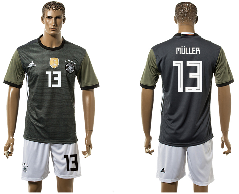 Men 2018 World Cup National Germany away 13 black soccer jersey