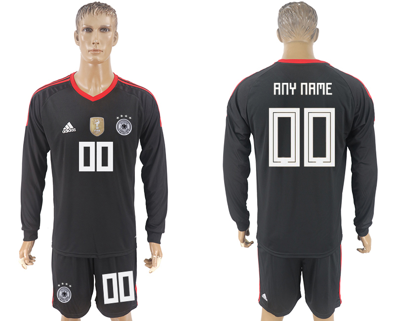 Men 2018 World Cup National Germany black goalkeeper long sleeve customized soccer jersey