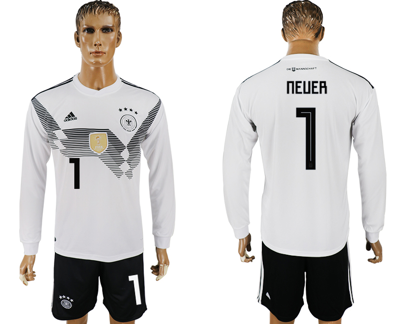 Men 2018 World Cup National Germany home long sleeve 1 white soccer jersey