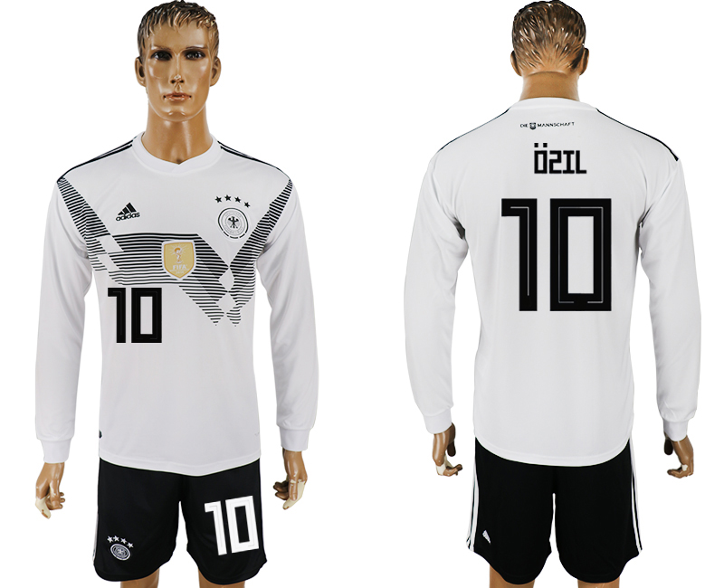 Men 2018 World Cup National Germany home long sleeve 10 white soccer jersey