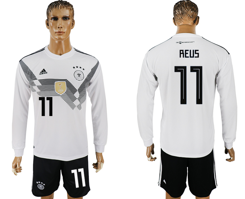 Men 2018 World Cup National Germany home long sleeve 11 white soccer jersey
