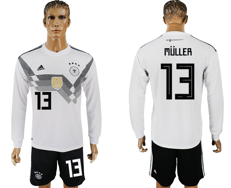 Men 2018 World Cup National Germany home long sleeve 13 white soccer jersey