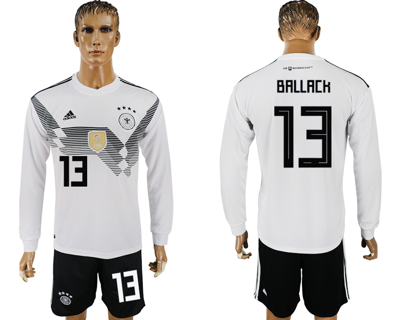 Men 2018 World Cup National Germany home long sleeve 13 white soccer jersey1