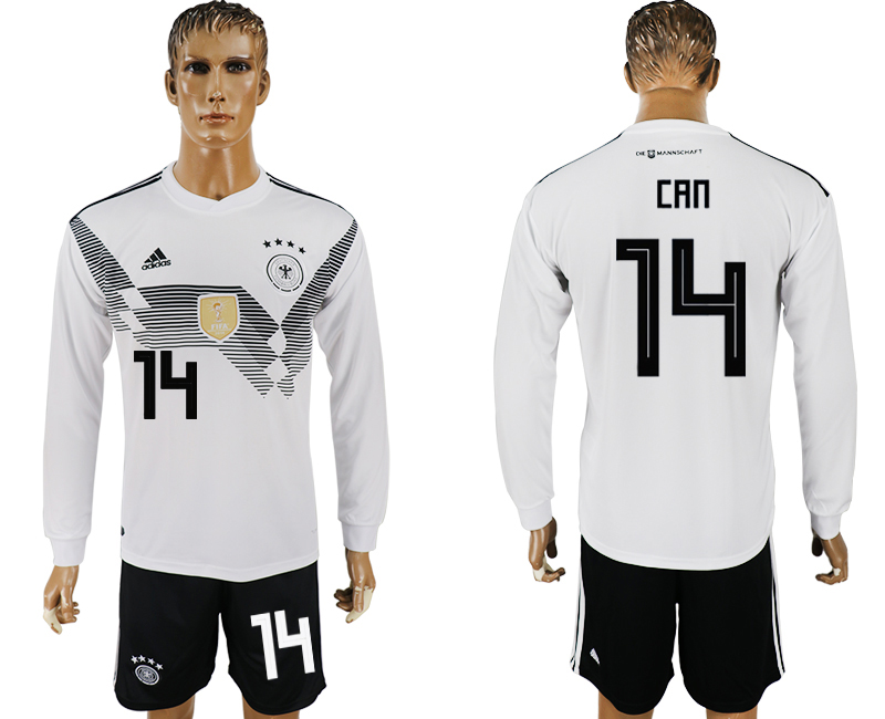 Men 2018 World Cup National Germany home long sleeve 14 white soccer jersey