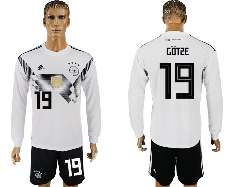 Men 2018 World Cup National Germany home long sleeve 19 white soccer jersey