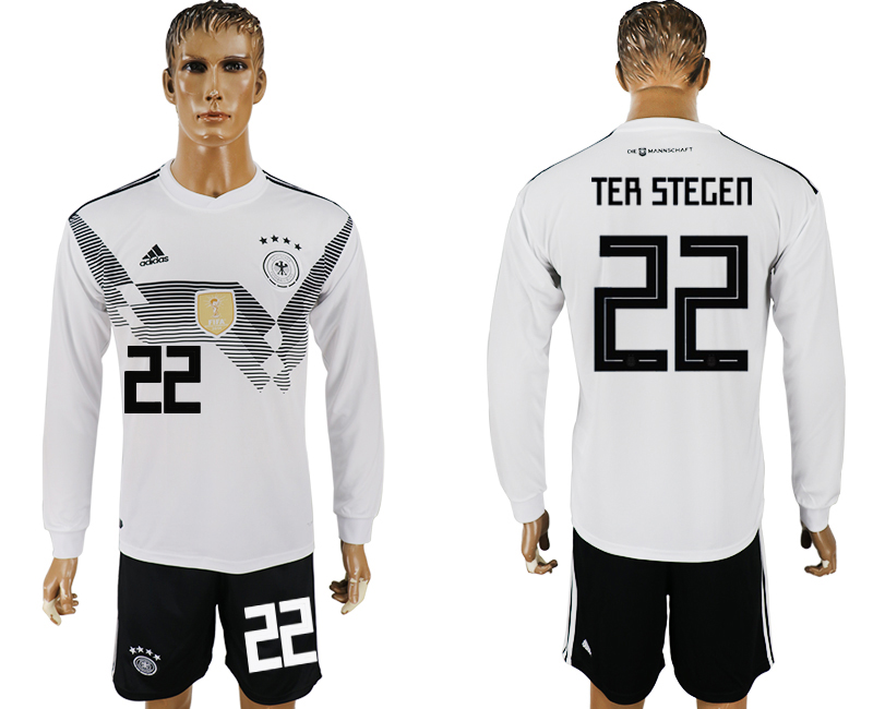 Men 2018 World Cup National Germany home long sleeve 22 white soccer jersey