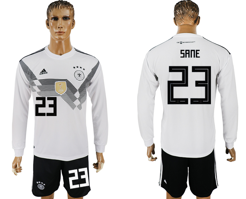 Men 2018 World Cup National Germany home long sleeve 23 white soccer jersey