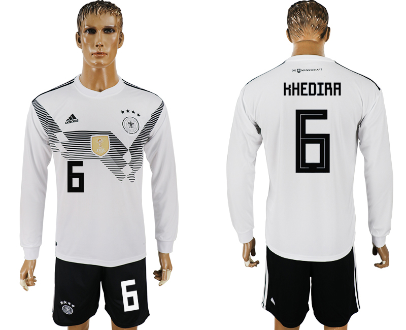 Men 2018 World Cup National Germany home long sleeve 6 white soccer jersey