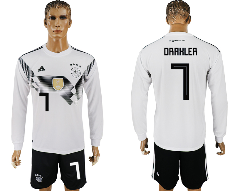 Men 2018 World Cup National Germany home long sleeve 7 white soccer jersey1