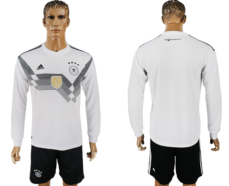 Men 2018 World Cup National Germany home long sleeve white soccer jersey