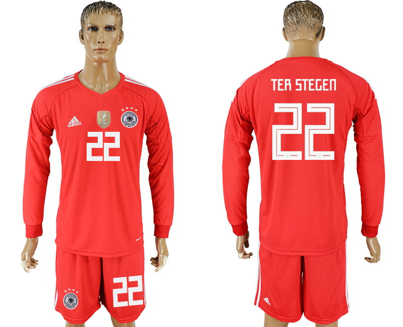 Men 2018 World Cup National Germany red goalkeeper long sleeve 22 soccer jersey