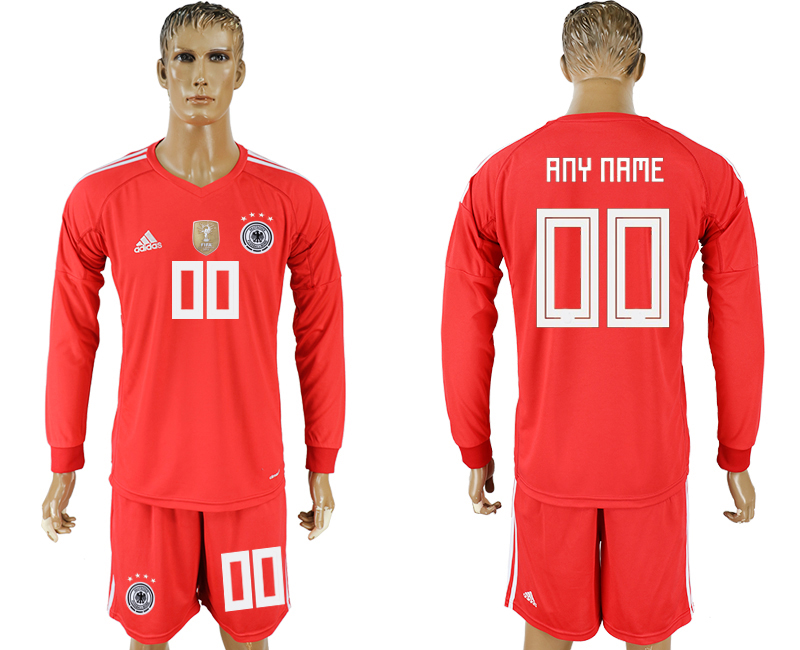 Men 2018 World Cup National Germany red goalkeeper long sleeve customized soccer jersey