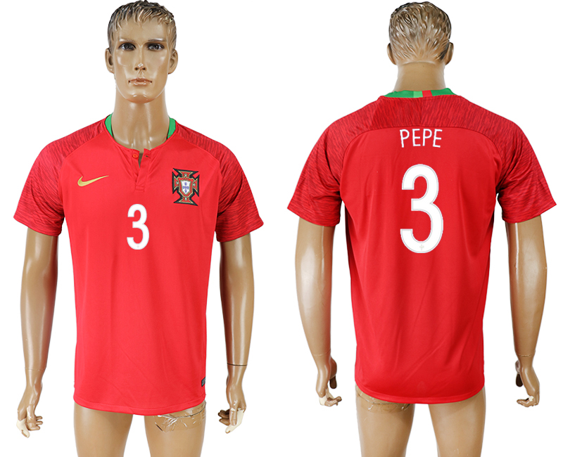 Men 2018 World Cup National Portugal home aaa version 3 red soccer jersey