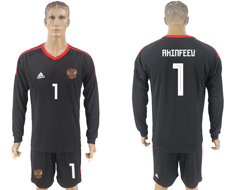 Men 2018 World Cup National Russia goalkeeper black long sleeve 1 soccer jersey