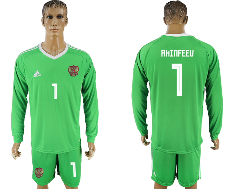 Men 2018 World Cup National Russia green goalkeeper long sleeve 1 soccer jersey