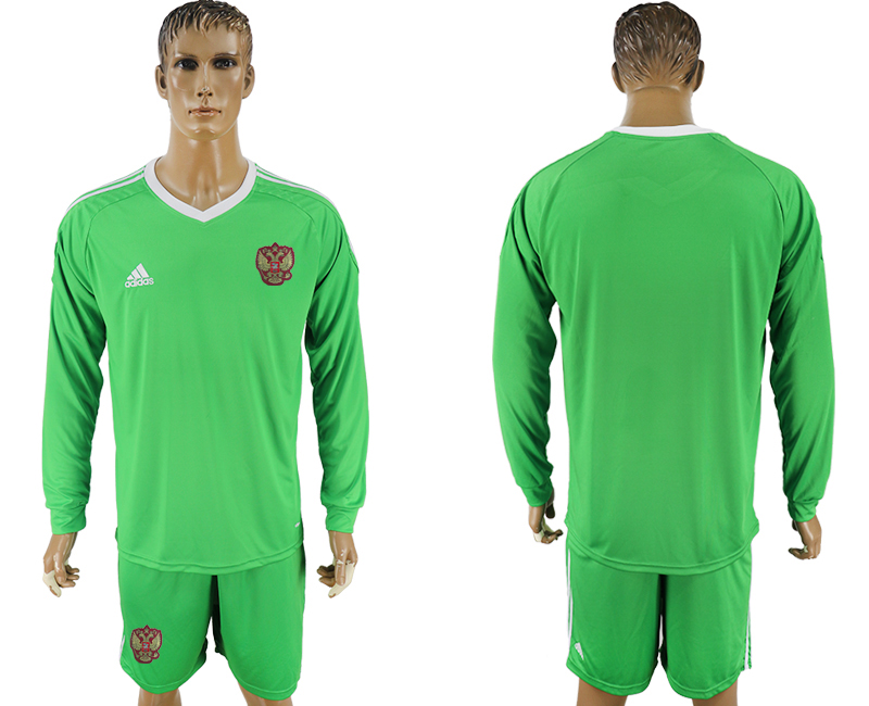 Men 2018 World Cup National Russia green goalkeeper long sleeve soccer jersey