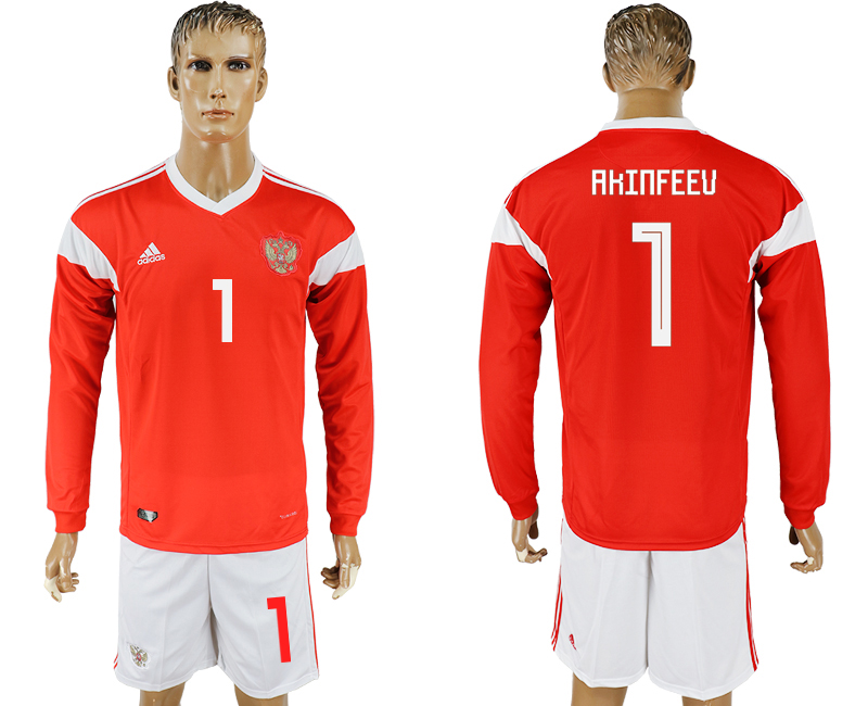 Men 2018 World Cup National Russia home Long sleeve 1 red soccer jersey