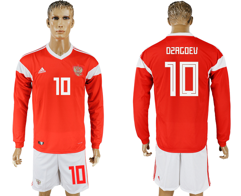 Men 2018 World Cup National Russia home Long sleeve 10 red soccer jersey