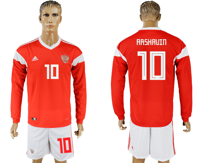 Men 2018 World Cup National Russia home Long sleeve 10 red soccer jersey1