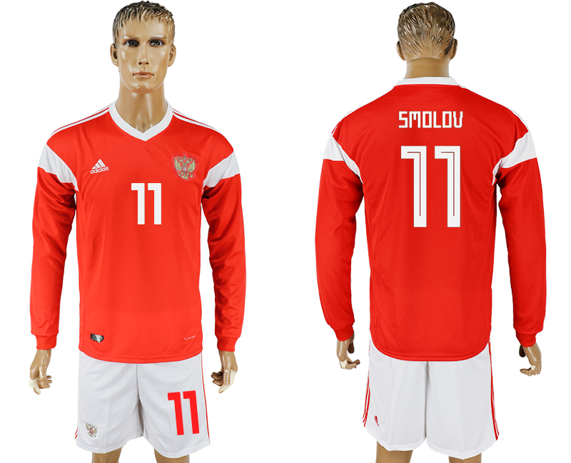 Men 2018 World Cup National Russia home Long sleeve 11 red soccer jersey