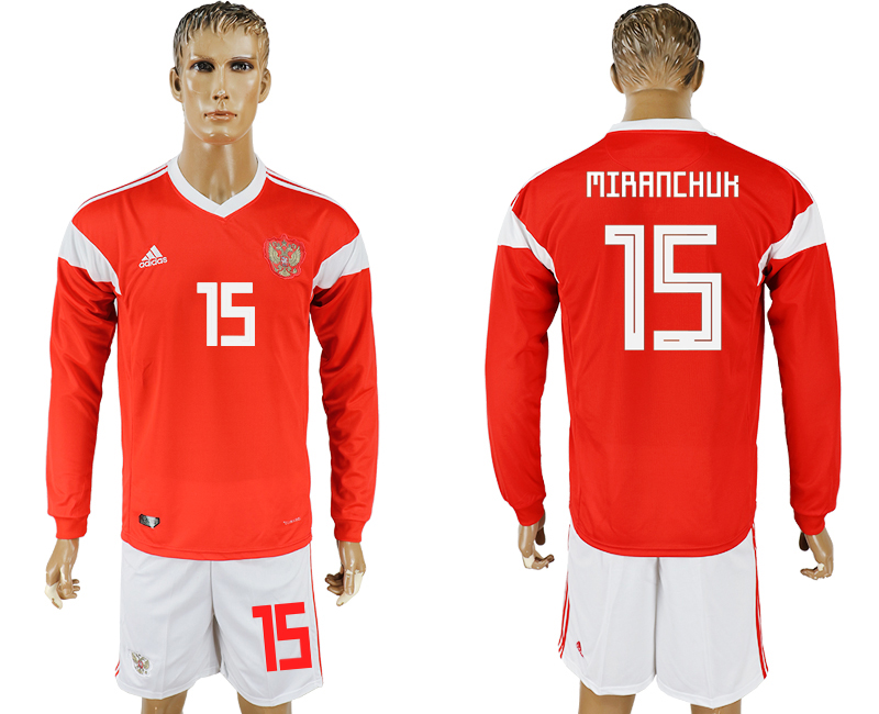 Men 2018 World Cup National Russia home Long sleeve 15 red soccer jersey